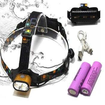 8000 LM USB Charge XM-L T6 Headlamp 2*T6 LED Powerful Focus Head Light 3 Modes Self Defense Camp Lampe Headlight