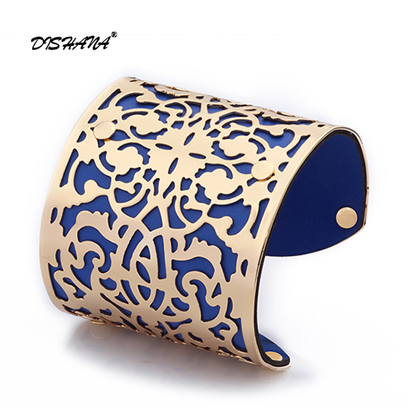 2107 Women Cuff Bracelets Gold -color Punk Style PU Leather Bangles For Women Vintage Hollow Out Design(s0008) punk style solid color hollow out rhinestone leaf shape pendant necklace for women