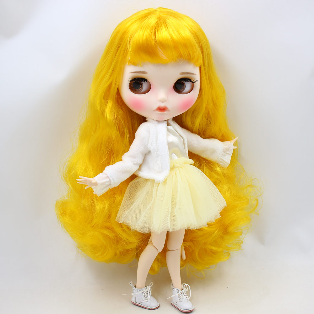ICY Nude Blyth Doll No BL3038 Yellow hair Carved lips Matte customized face Joint body 1