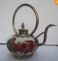 Chinese old Tibetan silver ceramic teapot A limited number shipping Garden Decoration 100% Tibetan silver brass