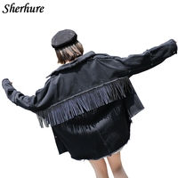 2019 Women Denim Jacket Coat Tassels Women Black Jackets Abrigo Mujer Tops For Women Chaquetas Mujer Women Denim Coat