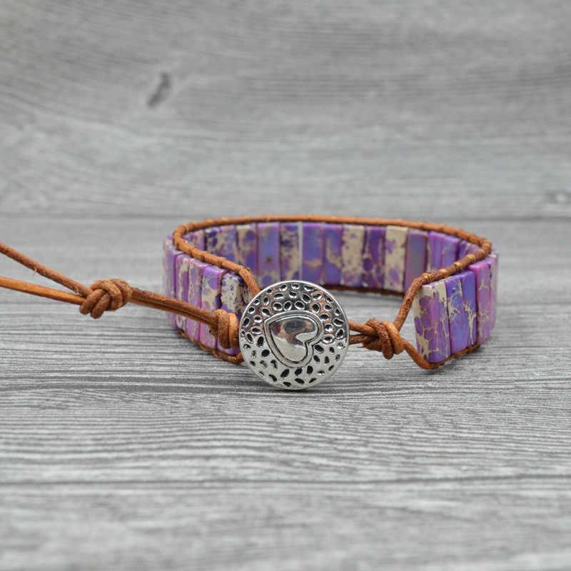 Nowy Punk bransoletka Femme naturalny Japser kamień pojedynczy Leather Wrap koraliki na bransoletkę czechy plaży bransoletka biżuteria