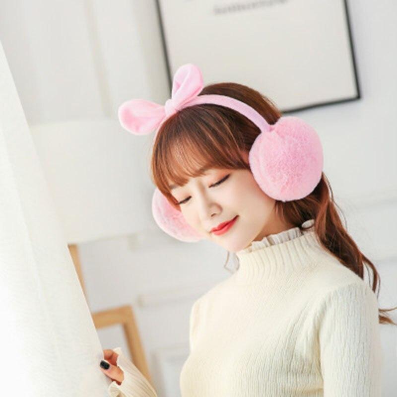 Winter GIRL'S Cat Ear Earmuff Korean-style Cute Bow Warm-style Earmuffs Outdoor Wind-resistant Cold Plush Earmuff