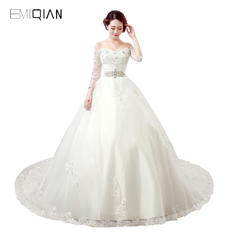 Freeshipping Elegant A Line Boat Neckline Chapel Train 3/4 Sleeves Tulle Wedding Dresses