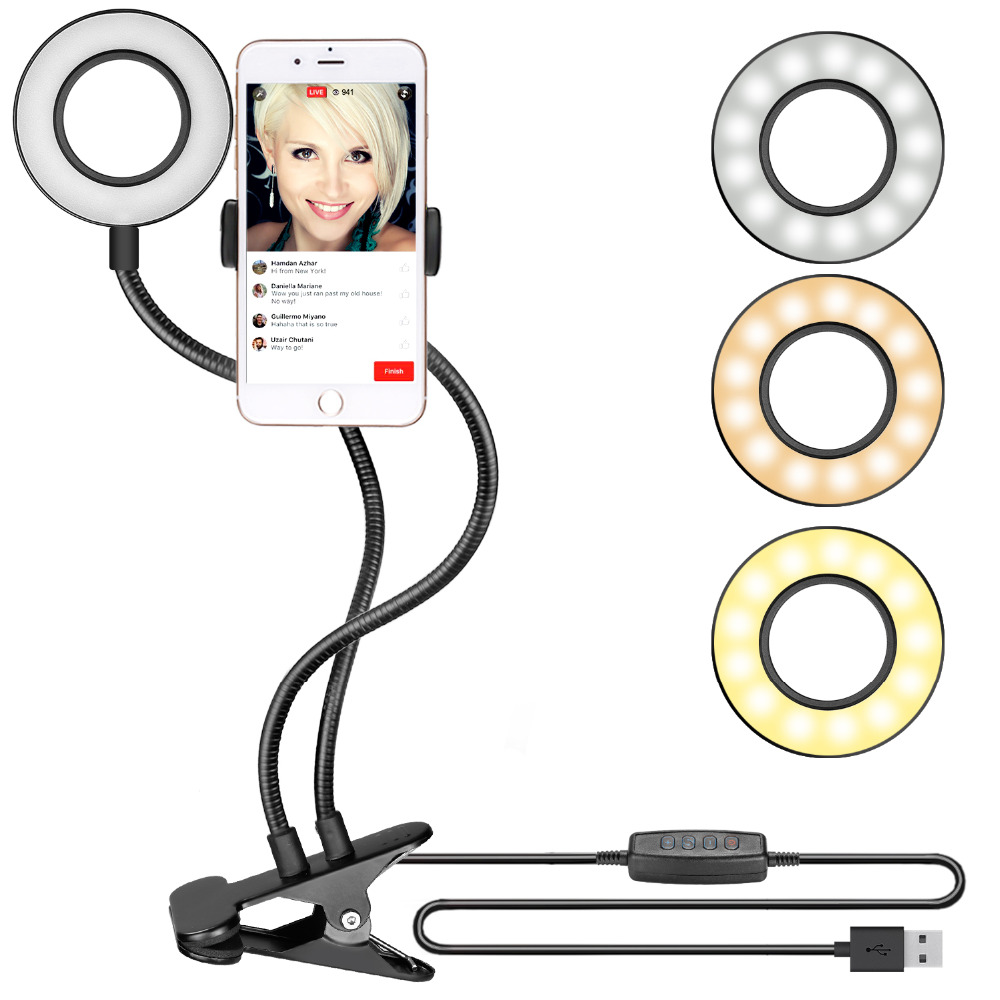 Neewer Clamp-on Selfie Ring Light Cell Phone Holder for Live Stream Youtube Video Dimmable(3-Light Mode8-Level Brightneess) кольцо для селфи selfie ring light на батарейке белое