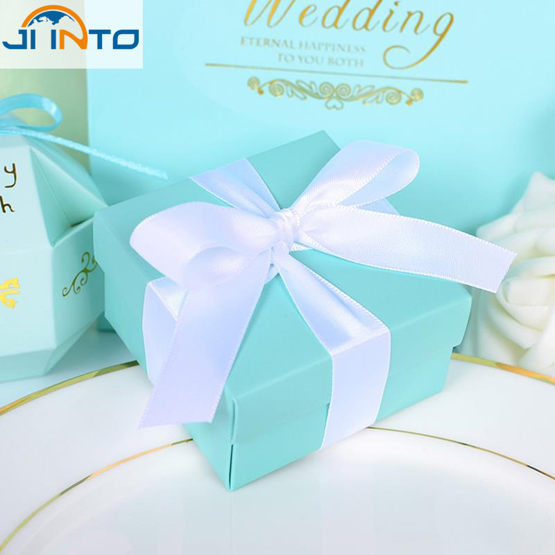 10pcs/set Romantic Wedding favors Decor Butterfly DIY Candy Cookie Gift Boxes Wedding Party Candy Box with Ribbon Tiffany Blue