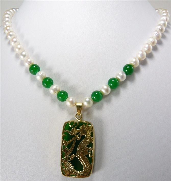 free shipping fine green  & mixed white pearl necklace +lucky dragon pendant 8mm