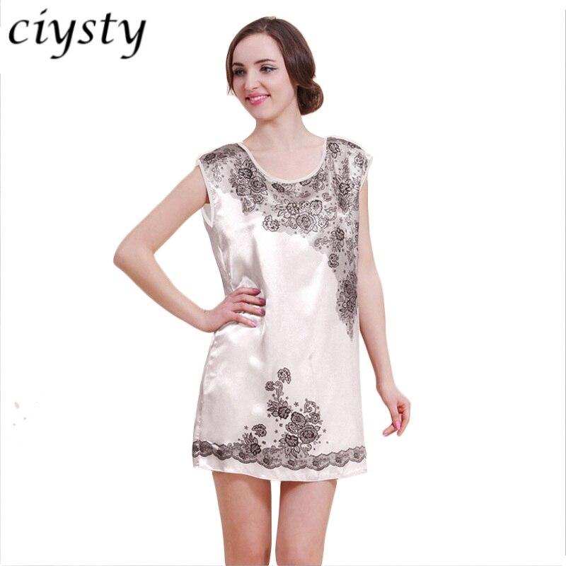 Nightgowns Sleepshirts 2018 Plus Size Silk Lady Sleepwear Dressing