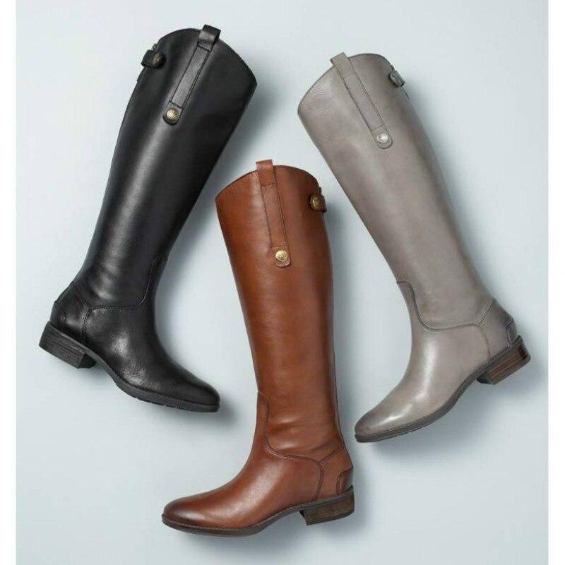 Hasta Rodilla Xwx6902 Invierno Botas Cuero Hee La Zapatos Mujer Cuadrados De Slip Tacones En Brown Pu Moda Mujeres Grand qWSOpSY