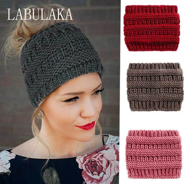 439de7cd2b8 Ponytail Beanie Messy Bun Holey Warm Hats for Women Knit Skullies Beanies  Warm Crochet Hat Fashion Ladies Outdoor Cotton Caps