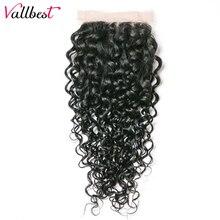 Water Wave Lace Closure 100 Human Hair Bundles 4X4 Weave Natural Black 1B 120 Density Free
