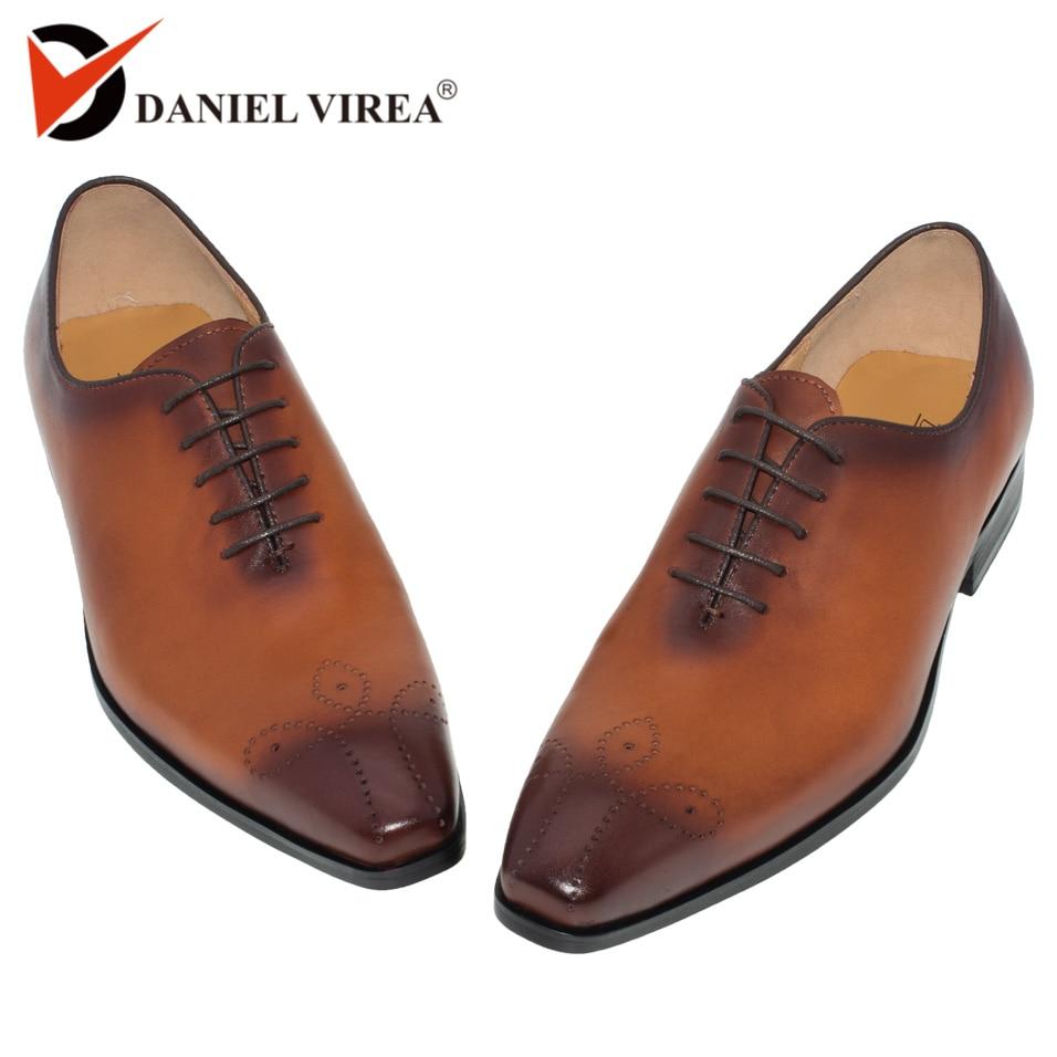 Hommes robe chaussures en cuir de luxe bout pointu Brogue Semi formelle robe noir jaune homme mariage Oxford chaussure Designer de haute qualité-in Chaussures d'affaires from Chaussures    1