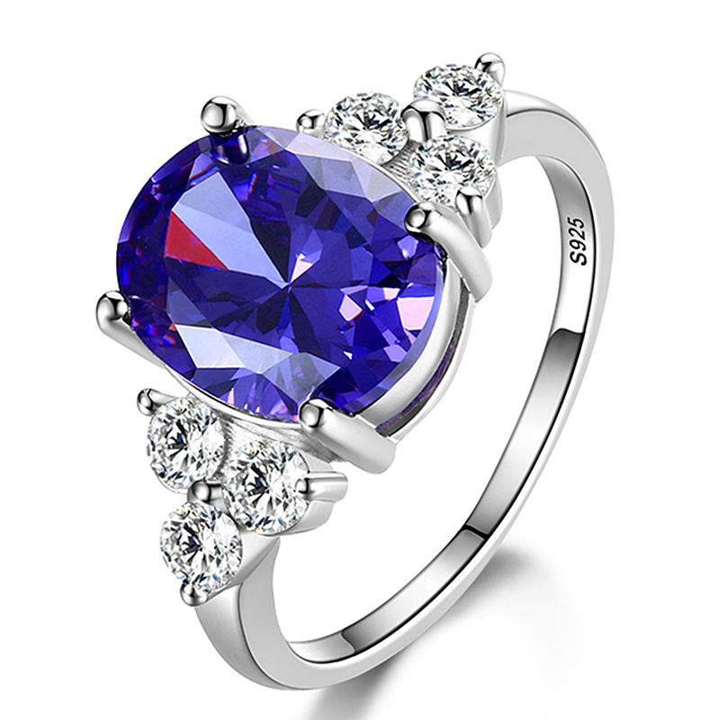 Women's Jewelry 925 Sterling Silver Ring AAAAA Mysterious Purple Zircon Oval Ring Wedding Jewelry Party Gift