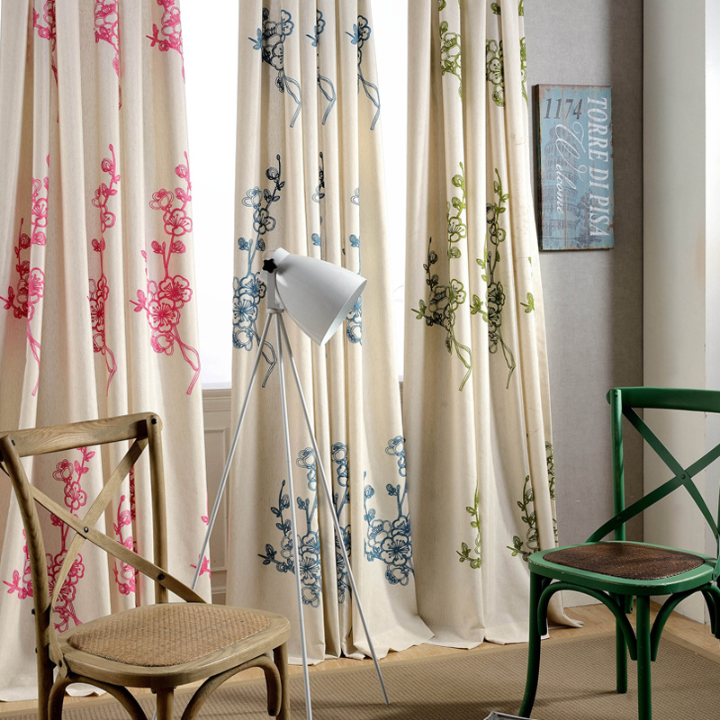 Us 7 56 37 Off Slow Soul Cotton Embroidered Curtain Simple Curtains Red Blue Green Cortina Quality For Bedroom Living Room Home Lighting In