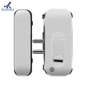 Image 3 - 2000 Gebruikers Geen Boor Security Biometrische Vingerafdruk Deurslot Voor Glazen Deur Wachtwoord Deurslot Met Id Kaarten Voice Gids