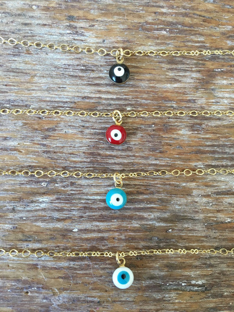 Mini Evil Eye Necklace, Delicate Women Charm Necklace XL255 1