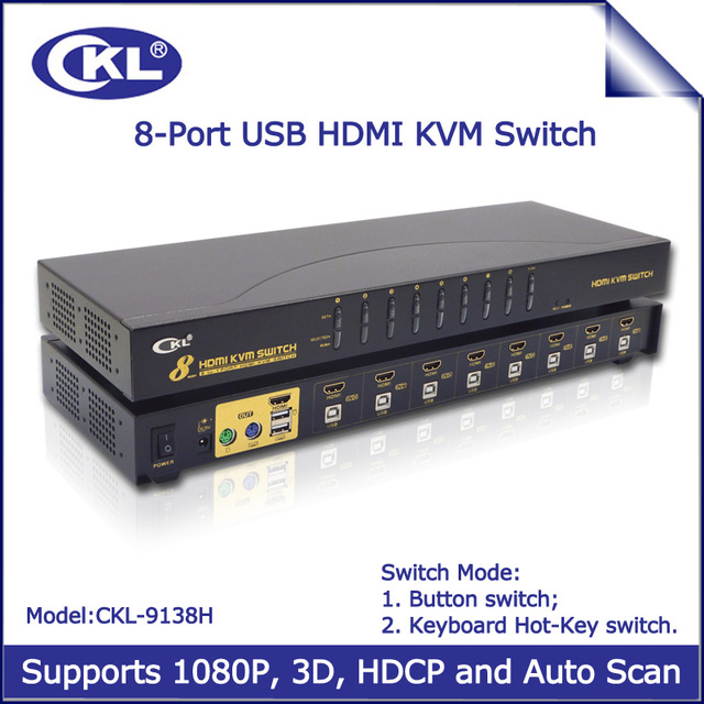Console 8 Port HDMI KVM Switch with USB and Auto Scan 8*1 Switcher Rack for CCTV Suveillence Server PC Monitor Keyboard Mouse