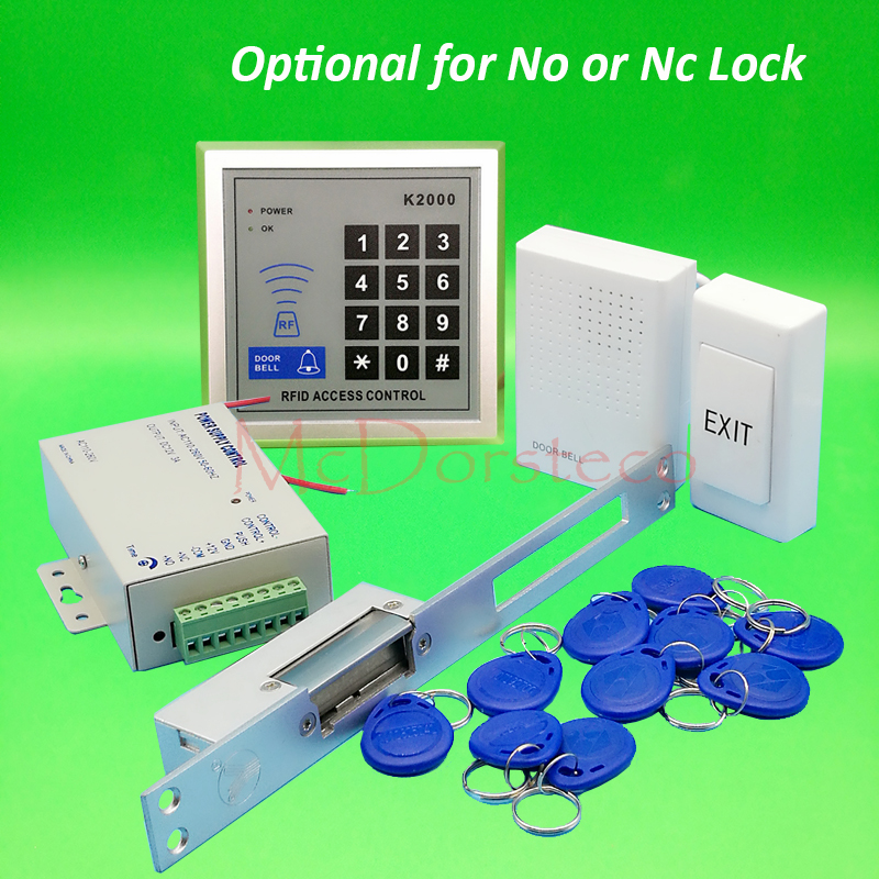 DIY 125khz Rfid Door Access Control Kit Set with Long Type Electric Strike Lock +10 RFID keyfob Card Full Access Control System digital electric best rfid hotel electronic door lock for flat apartment