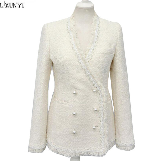 Autunno Nuove Donna Inverno Tweed Bianco giacca Signore LXUNYI fIg4qg
