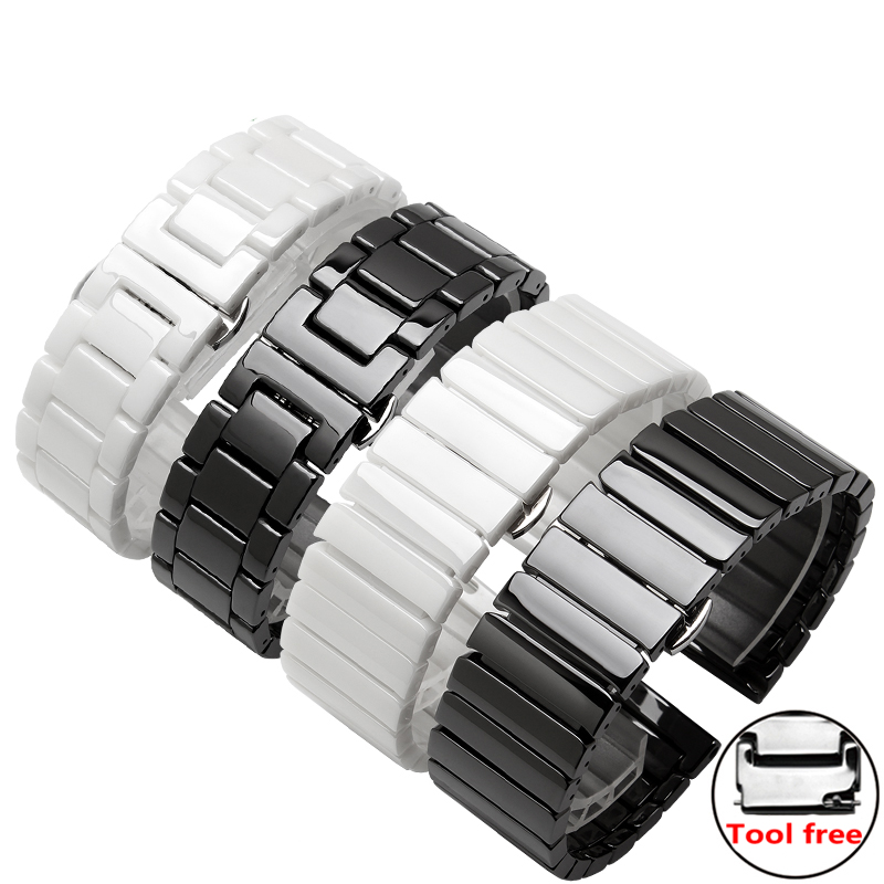 Quality ceramic watch bands 20mm 22mm black silver waterproof wristband for Huawei watch 2 / Pro 20mm 22mm ceramic