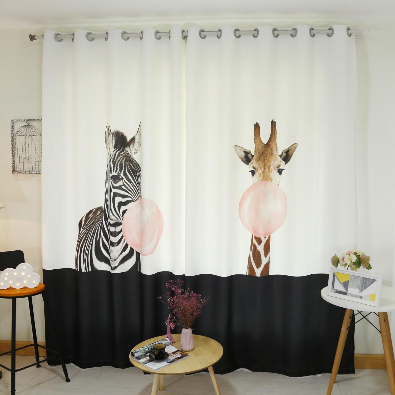 Moderne 3d rideau occultant dessin animé soufflant ballon zèbre girafe modèle épaissir velours tissu enfants rideau pour salon