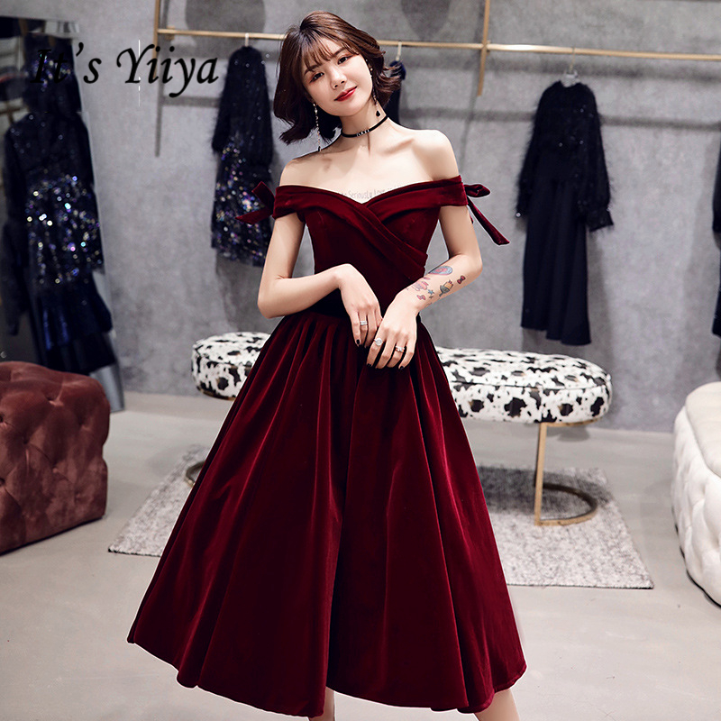 It's YiiYa Cocktail Dresses Elegant Boat Neck Bow Strapless Party Formal Dress Wine Red Lace Up A-line Fashion Prom Gowns E363