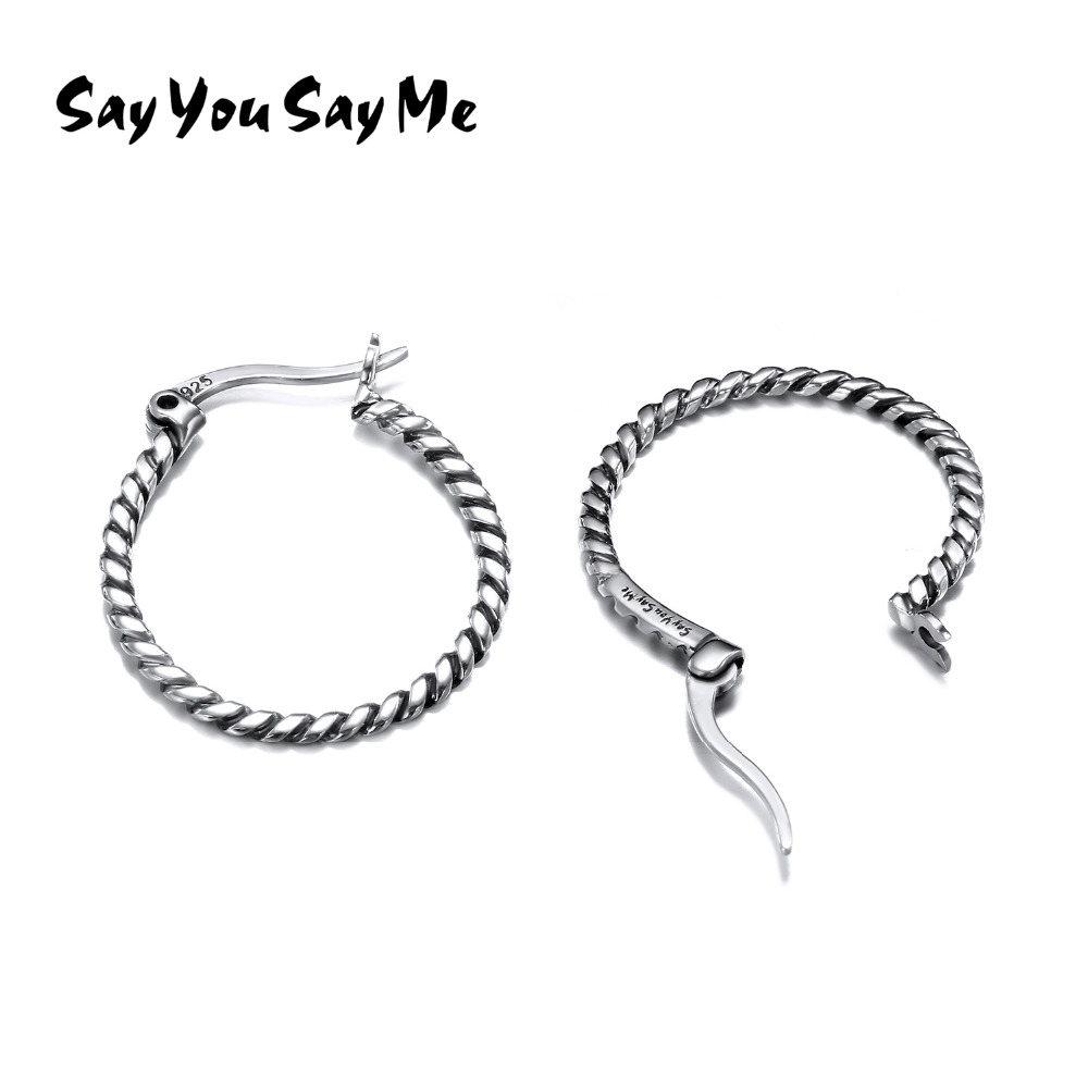 925 Silver Circle Twisted Hoop Earrings Round Big Hoop Smooth Earrings Charm Earrings For Women Simple Style Ears Say You Say Me bamboo big hoop earrings