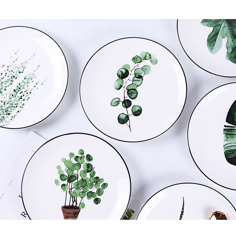 1 Pcs Tropical Plant Green Leaves Round Dinner Plate for Dessert Fruit Lunch Hot Sale in Dishes Plates from Home Garden