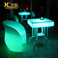 Plastic Bar Illuminate Furniture Living Room Chargeable Coffee Table Outdoor Garden Glowing Tables With Remote Control