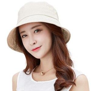 Image 3 - FANCET פשתן קיץ שמש כובע עבור נשים דלי כובעי Feminino Praia Chapeau Femme רחב ברים UPF50 + UV סנטר רצועה כובעי אופנה 89009