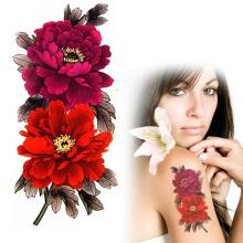 Red Flower Tatuagem Temporaria Waterproof Peony Floral Temporary Tattoos Sexy Leg Arm Back Fake Tatoo YM-X218