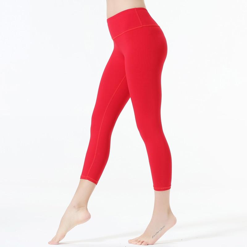 Capri yoga pants Pink color Solid color yoga pants yoga trousers Slim Running Leggings Sport Trousers Lady Tight Fitness Pants