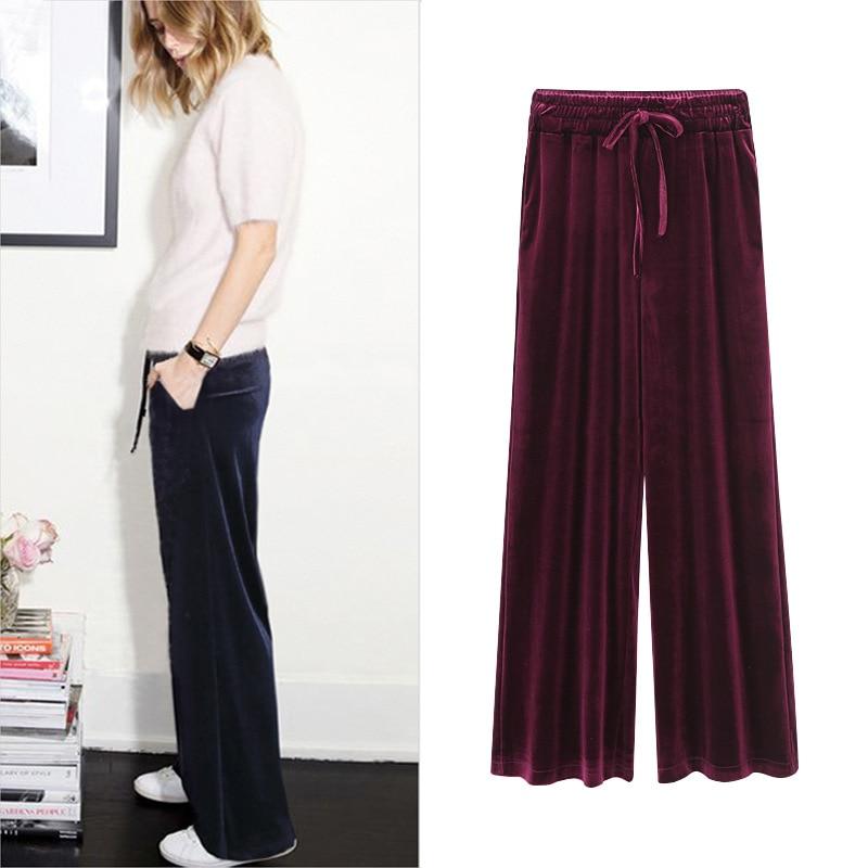 Fashion Velvet High Waist   Wide     Leg     Pants   Women Autumn Winter New Trousers Clothing loose large size 200 pounds fat casual   pants