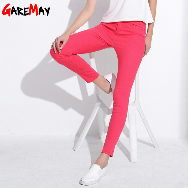 GAREMAY Women's Candy Pants Pencil Trousers 2018 Spring Fall Khaki Stretch Pants For Women Slim Ladies Jean Trousers Female 1010 3