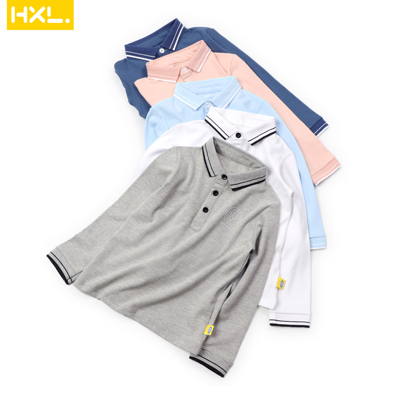 2019 Spring New High Quality Boys Polo Shirts Long Sleeved Cotton Solid Thin Turn-Down Collar Kids Shirts School Uniform White