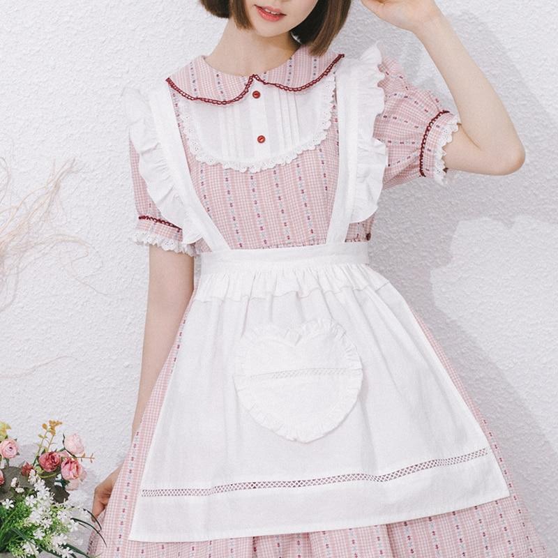Princess sweet lolita apron Vintage sweet soft sister Lotus Edge Removable Belt Apron cotton bow tie all match apron LG044