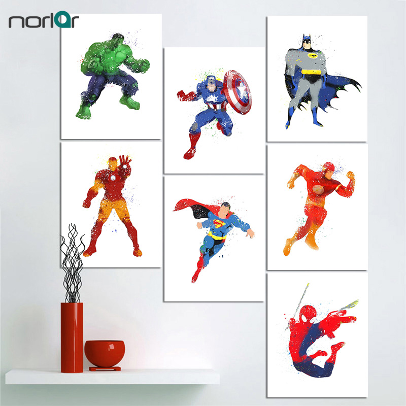 No Frame Watercolor Superhero Avenger Movie Poster Print Vintage Hulk Batman Picture Canvas Painting Home Wall Art Gift