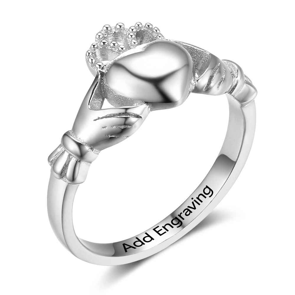 dc7f619776 Detail Feedback Questions about 925 Sterling Silver Claddagh Rings For  Women Heart Crown Shape Personalized Rings Irish Love& Friendship Jewelry  Gift ...
