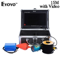 Eyoyo 15M 1000TVL Underwater Fish Finder Video Fishing Camera With Monitor Sun Visor Infrared IR