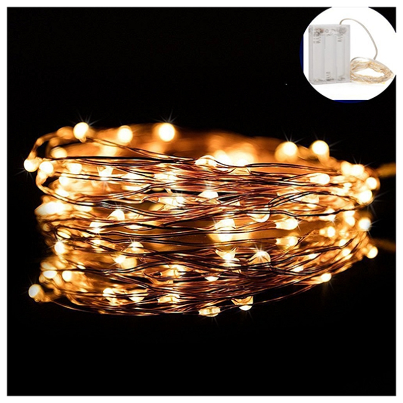 33FT100 led Outdoor Led Copper Wire String Lights Battery Powered Lamp Christmas Festival Wedding Party Decoration Fairy Light ...