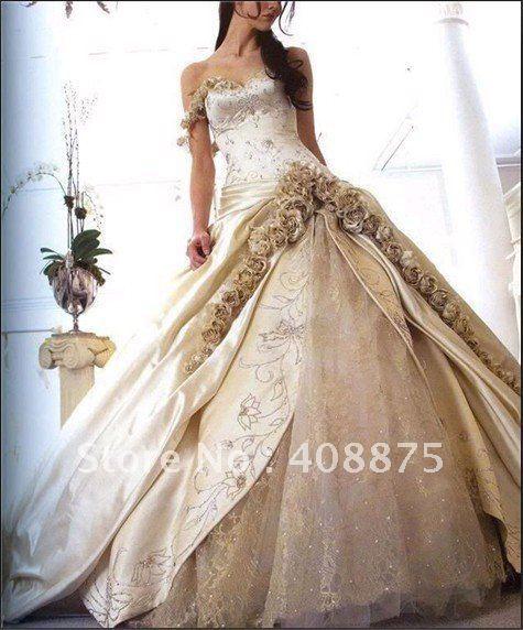 Free Shipping Amazing Stock  Low price champagne wedding Dress US Standard (6,8,10,12,14,16)