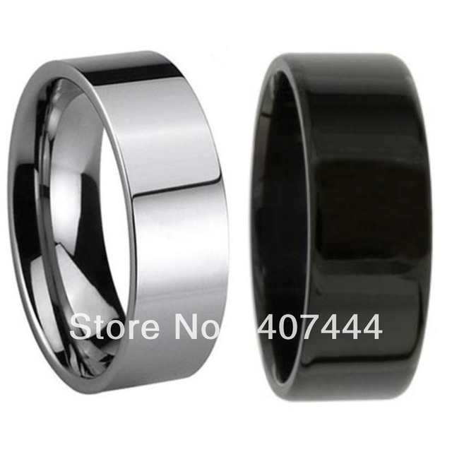 Free Shipping Cheap Price USA Canada UK Russia Brazil Hot Sales 8MM Pipe Cut Black/Silver Men's Tungsten Wedding Ring Size 6-13