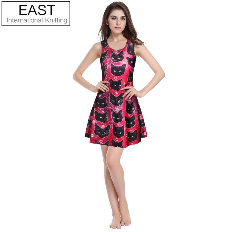 1367c845cc LESTE DE TRICÔ Mulheres Verão Estilo Vestido Vestidos Dos Desenhos Animados  Gato Fantástico Impresso Casual Vestido Skater