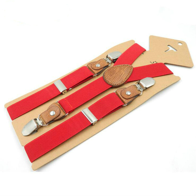 35 Colors New 3 Clips Y Kid Brown Tan Leather Suspender Braces Birthday Elastic Outfit 70*2.5cm Adjustable