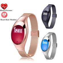 Pulsera elegante para Las Mujeres Z18 Android Ios Bluetooth Moda Heart Rate Monitor de Presión Arterial Inteligente Relojes de Fitness barcelet