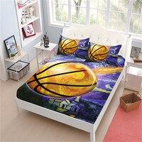 Colorful Oil Painting Basketball Sheet Set Cartoon Sports Design Bed Linens Flat Sheet Deep Pocket Fitted Sheet Pillowcase