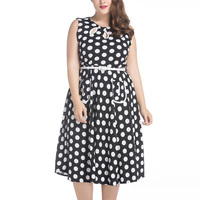 2017 Vintage Women Summer Polka Dot Dress O Neck Sleeveless Knee Length Plus Size 6XL 7XL