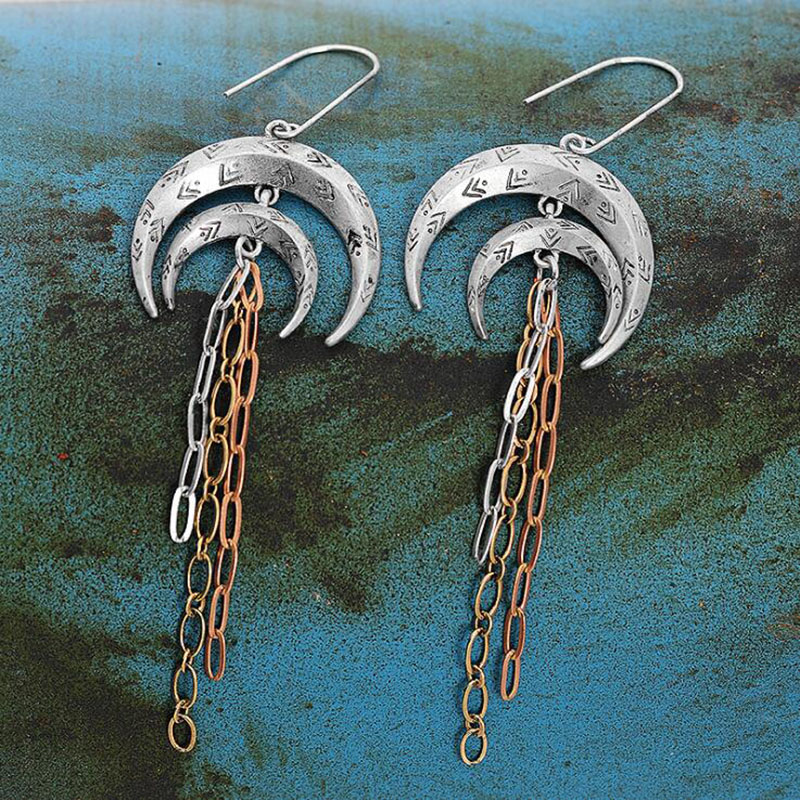 Banny Pink Vintage Alloy Double Crescent Dangle Earring Walking Moon Pendant Drop Earrings Ethnic Metal Tassel Earring Pendiente