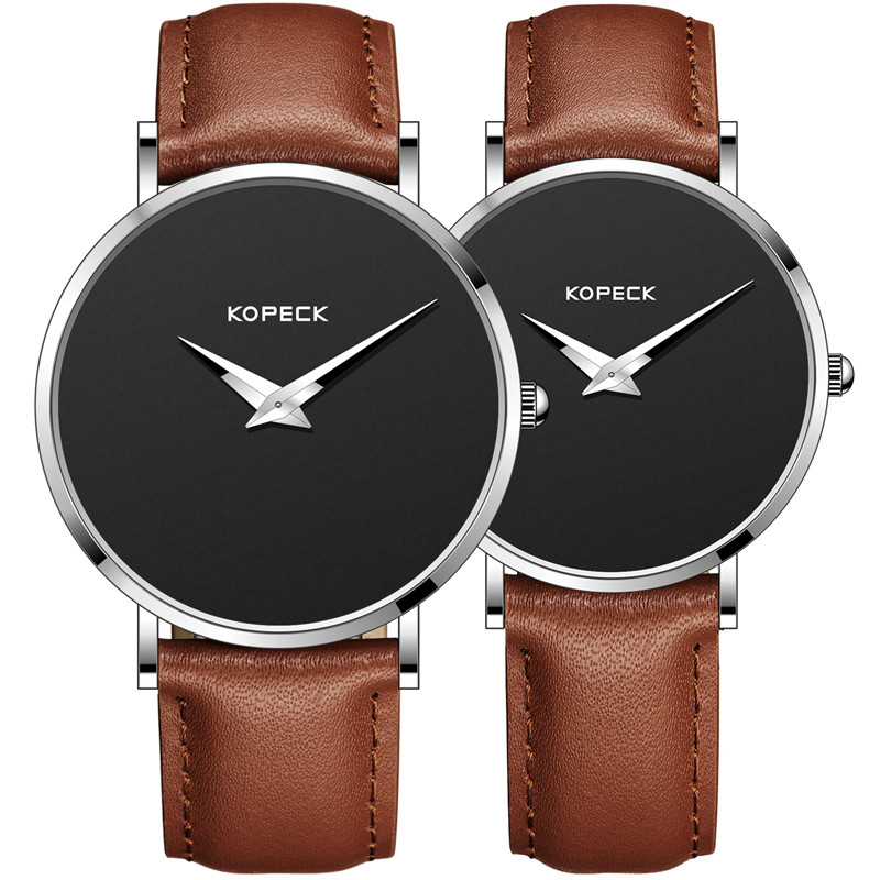 Fashion Simple 6mm Ultra Thin Dial Men Lovers' Wrist Watch Brand Leather Strap Clock Women Couple Watches Top Brand KOPECK