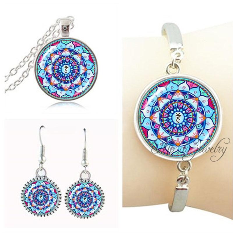 Blue mandala flower necklace earring set indian mandala om jewelry set for women accessories wedding jewelery sets yoga earring